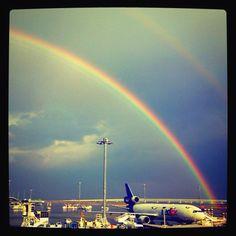 Rainbow, airplane, sky