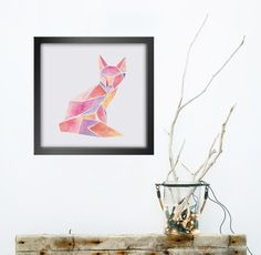 Fox PRINT - Geometric Watercolor Square - Wall Art Series