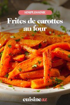Les frites de carotte cuites au four sont un accompagnement facile à préparer. #recette#cuisine #frites #carottes #four #legume Thai Red Curry, Carrots, Vegetables, Ethnic Recipes, Food, Carrot Fries, Side Dishes, Essen, Carrot