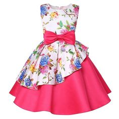 Baby Kids Flower Pretty Birthday Dresses Children Clothing Toddler Wedding Princess Dress Eveving Party Costume Clothes With Bow 1 Baby Girl Party Dresses, Toddler Girl Dresses, Birthday Dresses, Baby Dress, Girls Dresses, Toddler Girls, Baby Kids, Tutu Dresses, Summer Dresses