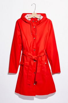 Curve Raincoat | Free People Red Raincoat, Order Checks, Long A Line, Free People, Silhouette, Chic, Closet Renovation, Jackets, Shopping