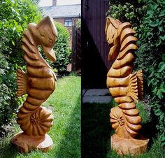 A seahorse wood sculpture would be fun to add to your garden!
