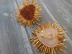 Heart burst Brown earrings Heart-shaped beadwork earrings Stud | Etsy