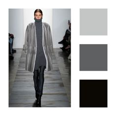 The fashion image shows achromatic colour scheme with  the use of grey, black and white colours.