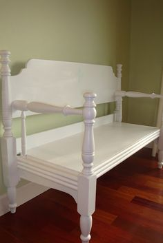 Bench made from an old bed
