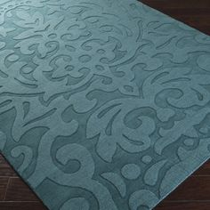 Hand-crafted Westboro Solid Teal Green Damask Wool Rug (8' x 11')   Overstock.com