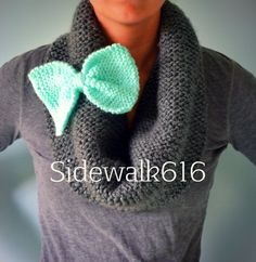 Grey and Mint Knit Bow Scarf Infinity Scarf Cowl