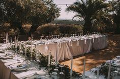 Elegant Outdoor Wedding Reception - Ernesto Villalba Photography | Elegant Outdoor Spanish Wedding with Olive Branches & White Flower Decor | Open The Door Events | Hacienda la Colora Venue