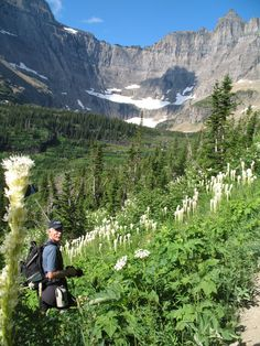 Dave photographing the Beargrass on our way to Iceberg Lake, Glacier National Park, Montana, July 2012.