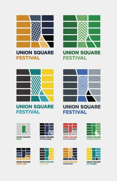 Dynamic logo – Union Square by Thorbjørn Gudnason, via Behance Destination Branding, City Branding, Identity Design, Visual Identity, Dynamic Logo, Festival Logo, Union Square, Design System, Map Design