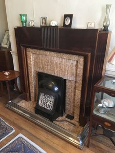 tiled fireplace with wooden surround at Hardman's House in Liverpool (National Trust). Victorian Fireplace Mantels, 1930s Fireplace, Edwardian Fireplace, Art Deco Fireplace, Porch Fireplace, Wooden Fireplace, Vintage Fireplace, Fireplace Built Ins, Brick Fireplace Makeover
