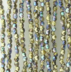 4mm Faceted Metallic Gold Ore AB Etched Firepolish Czech Glass Beads - Qty 50 (DW137)