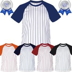 4c4831332eb Details about New Mens Baseball Stripe Raglan Short Sleeves T-Shirt Jersey  Round Neck Tee Team