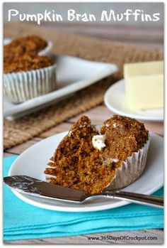 This recipe for pumpkin bran muffins is super yummy and healthy too. One muffin only has 109 calories. A fast breakfast!