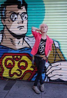 Pink blazer & pink hair at Melrose Avenue.