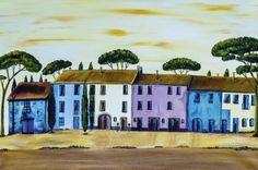 Christine Huwer: Bunte Häuserreihe in der Toskana
