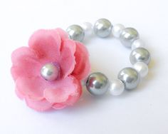 Newborn Baby Bracelet, Glass Bead Pearl Bracelet with Flower for Baby Girl to 5 months, photo prop, baby shower gift, Pink, SIlver, White. $4.95, via Etsy.