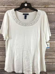 c8a0f17a62d Karen Scott Women s White Short Sleeve Top Size XL NEW  KarenScott  Blouse