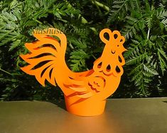 3d paper rooster