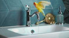 Nytt ptodukt - HAMNSKÄR blandebatteri i bad med turkise fliser.