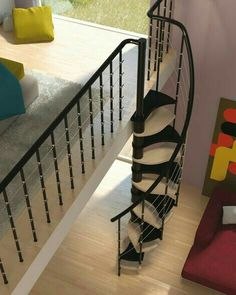 Modern Interior Design with Spiral Stairs, Contemporary Spiral Staircase Design / Design, Decorating and Renovation Ideas and Inspiration Wood Stair Treads, Metal Stairs, Loft Stairs, Modern Stairs, House Stairs, Spiral Stairs Design, Spiral Staircase, Staircase Design, Staircases