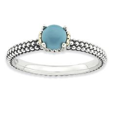 Stackable Expressions Sterling Silver & 14k Turquoise Antiqued Ring| Stackable Expresions