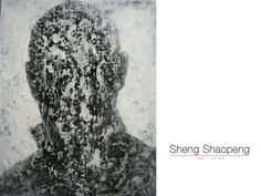 Sheng Shaopeng, abstract face, mixed media (oil on canvas, filler, latex).  Collection Galerie Kunstbroeders Amersfoort
