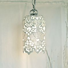 "waterlilyjewels: Carved White Porcelain Pendant Lamp This hand-carved milky white porcelain pendant lamp measures approximately 11"" in length and 7"" in diameter. Perfect for an entrance way or decorative nook."