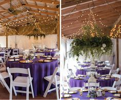 Rustic Barn Wedding Reception with Purple, Ivory and Green Centerpieces and Hanging Greenery Centerpiece Suspended from Ceiling | Tampa Wedding Venue Cross Creek Ranch