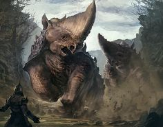 Rhinorocs, a powerful prehistoric creature known to roam forests in groups of three or four, commonly leaving little more than debris in their wake. Monster Concept Art, Alien Concept Art, Creature Concept Art, Fantasy Monster, Monster Art, Creature Design, Mythical Creatures Art, Alien Creatures, Prehistoric Creatures