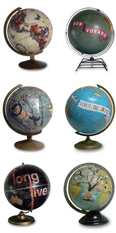 with the constant changes in world maps, what a cool solution- I <3 these Re-Purposed Globes - So creative! but he video on 'How Globes are Made' what a fun bonus!!   http://wendygold.wordpress.com/2010/10/02/how-globes-are-made/