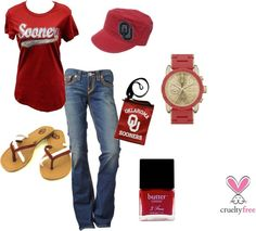 """Boomer Sooner Game Day (mid-season)"" by pbmhuck on Polyvore. Now THIS is my kinda outfit. ;D"