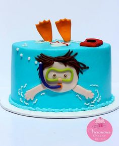 Cute kid cakes. I love this little pool cake.... or swimming cake? Little boy swimming cake!