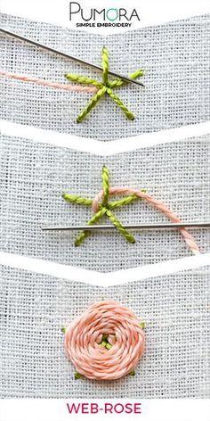 Blumen sticken: Web-Blumen Wagon wheel stitch
