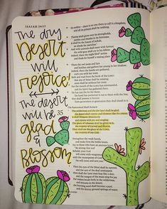 Isaiah 35:1-2☀️ #biblejournaling #biblejournalingcommunity #ipaintinmybible #prismacolor #illustratedfaith #cactus