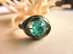 Handmade RING  Custom Size  Emerald Crystal  Green by gabeadz