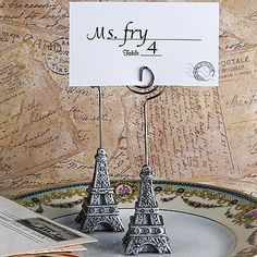 From Paris with Love Collection Eiffel Tower place card holder favors at FavorWarehouse.com