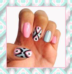Pastel Ikat Nails #nails #nailart #ikat #vanillavice