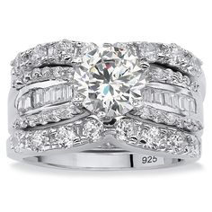 PalmBeach 5.62 TCW Round Cubic Zirconia Three-Piece Bridal Set in Platinum over Sterling Silver Glam CZ | Overstock.com Shopping - The Best Deals on Cubic Zirconia Rings