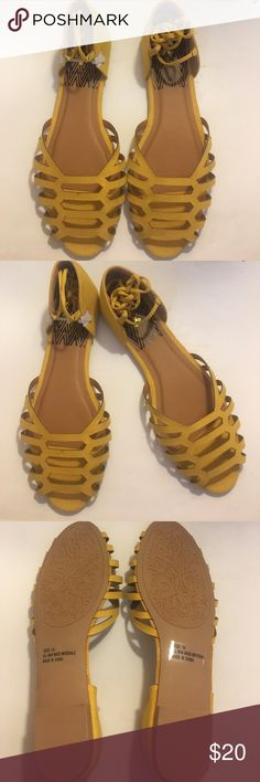 ☀️New! Suede Sandals ☀️ Yellow suede sandals with straps that tie around your ankle , super cute , has a tiny imperfection it's not too noticeable , look at picture #5 , they do run a bit small Qupid Shoes Sandals
