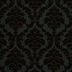 Duck Egg/Chocolate Damask Chenille Fabric by the Yard | Mood Fabrics