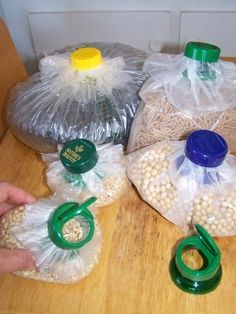 Use a Flip Top Cap from a Vitamin Bottle over a plastic bag to seal dry ingredients. I have other flip top bottle and jar caps from parmesan cheese and coffee creamer that would probably work as well. From TipNut