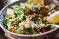 Buckwheat Tabbouleh made without garlic, goat cheese, or cucumber. Followed America's Test Kitchen Gluten Free recipe. Made 02/09/15