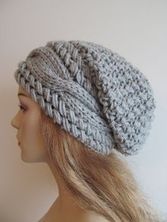 Slouchy Beanie Slouch Cable Hats Oversized Baggy Beret by Lacywork Slouchy Beanie Hats, Beanies, Loom Crochet, Knitted Hats, Crochet Hats, Crochet Hat For Women, Wedding Hats, Crochet Designs, Hats For Women