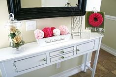 This is the scale and size of console table that I need.  Storage is a bonus - perfect for keys, sunglasses and other little items.