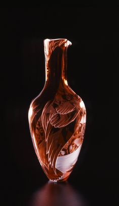 """Fowl"" - sandblasted and engraved, blown cameo glass  - by Lisabeth Sterling"