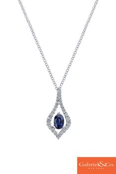 This stunning 14k White Gold Diamond And Sapphire Necklace by Gabriel & Co. is to die for this winter. Make sure to purchase your perfect holiday gifts with Gabriel & Co. Along with your gifts, don't forget about yourself and picking out your favorite winter pieces!