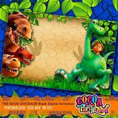 The Good Dinosaur Blank Digital Invitation by CocoaParty on Etsy Dinosaur Alphabet, Dinosaur Movie, The Good Dinosaur, Dinosaur Birthday Party, 3rd Birthday, Birthday Party Themes, Movie Invitation, Cumple Paw Patrol, Dinosaurs