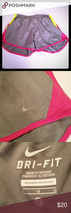 Sz L Nike Dri Fit Tempo Shorts Gray, hot pink and neon yellow Nike shorts size L See pics for details Nike Shorts