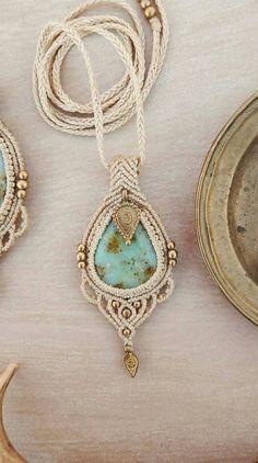 macrame pendant, healing crystal necklace, bohemian pendant with brass beads, gemstone necklace with chrysoprase crystal Bohemian macrame pendant. Macrame necklace with chrysoprase Macrame Colar, Macrame Earrings, Macrame Jewelry, Macrame Bracelets, Bohemian Jewelry, Etsy Macrame, Hemp Jewelry, Jewelry Crafts, Jewelry Art